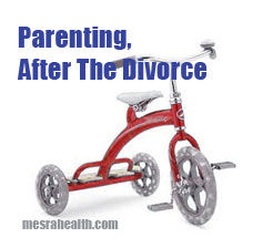 Photo of kids tricycle and title saying 'Parenting, After The Divorce'