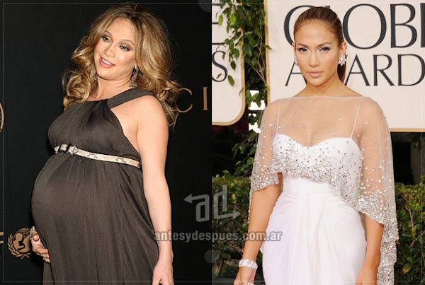 Before and after of Jennifer-Lopez embarazada