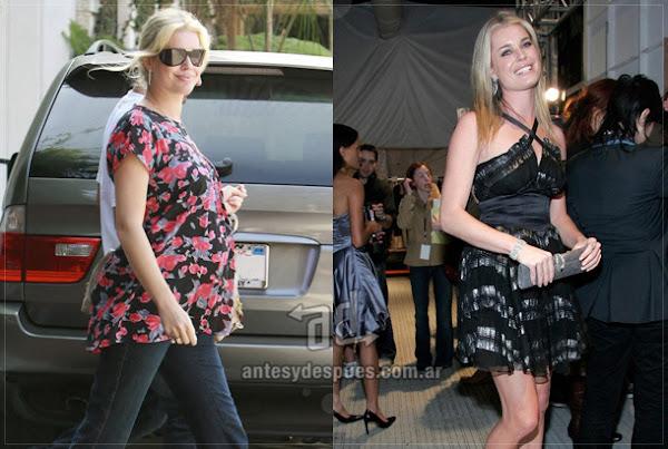 Before and after of Rebecca-Romijn embarazada