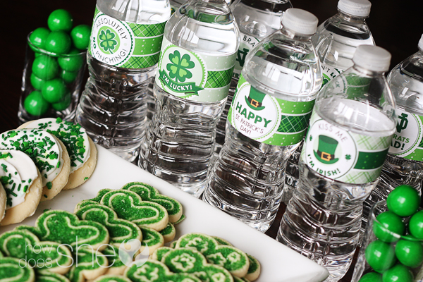 FREE St. Patrick's Day printable water labels