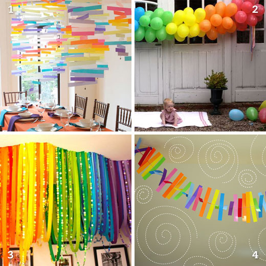 DIY rainbow party decor | Chickabug