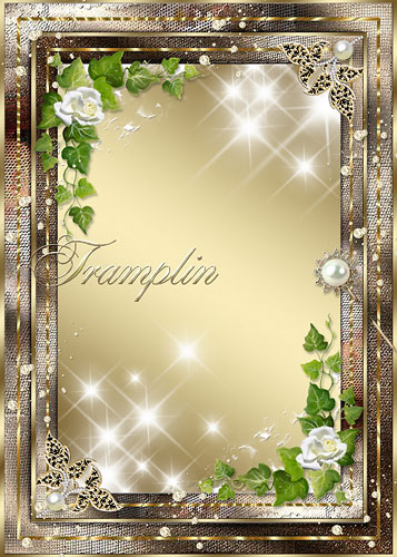 Рамка для фото – Золотая с розами и жемчугом