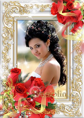 Рамка с красными розами – И красота, и лоск, и нежность