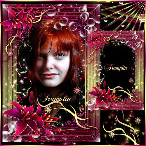 Рамка для фото с лилиями – Девушка - загадка