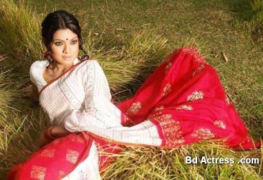 Bangladeshi Model Tisha red saree