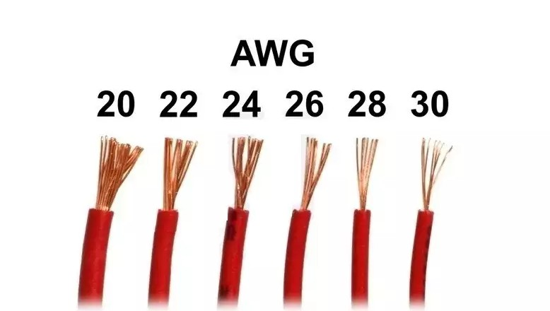 Wire gauge sizes varying from 30 to 20