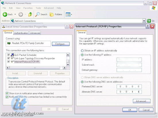 Setting DNS di Windows XP