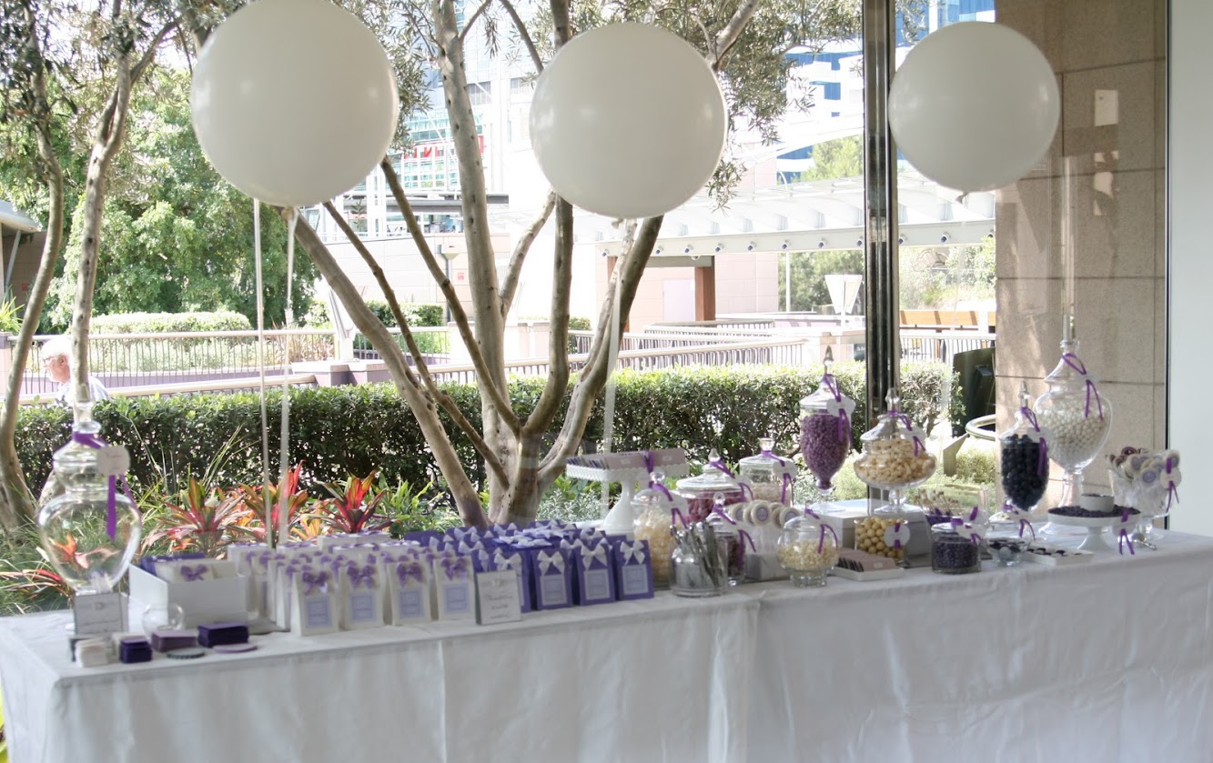 Pretty Purple and White Candy Table