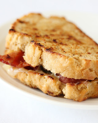close-up photo of a Beer Bread Grilled Cheese Sandwich