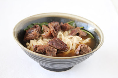 close-up photo of beef noodle soup