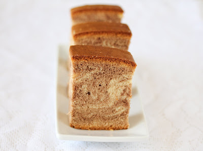 close-up photo of a slice of Marble Castella Cake