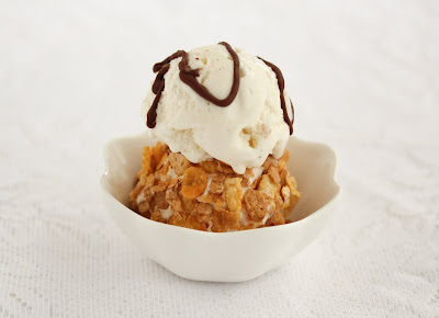 close-up photo of a bowl of mexican fried ice cream