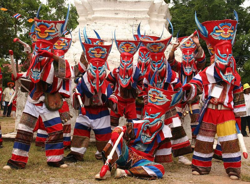 Image result for Phi Ta Khon (Ghost Festival) thailand images