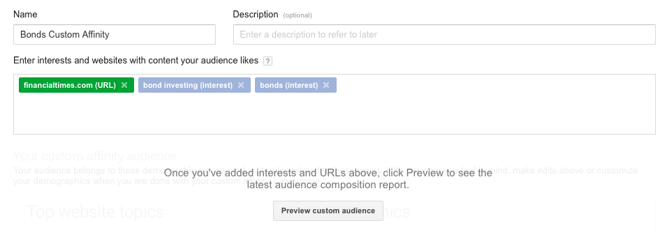 custom affinity audiences for video ad targeting