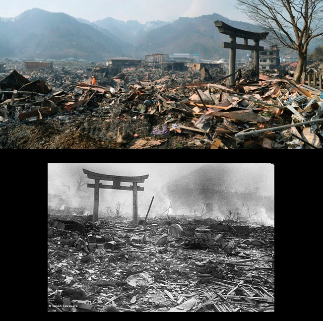 Seeing one of the pictures from the Japan quake reminded me of a picture I saw from the bombing of Nagasaki during WWII.