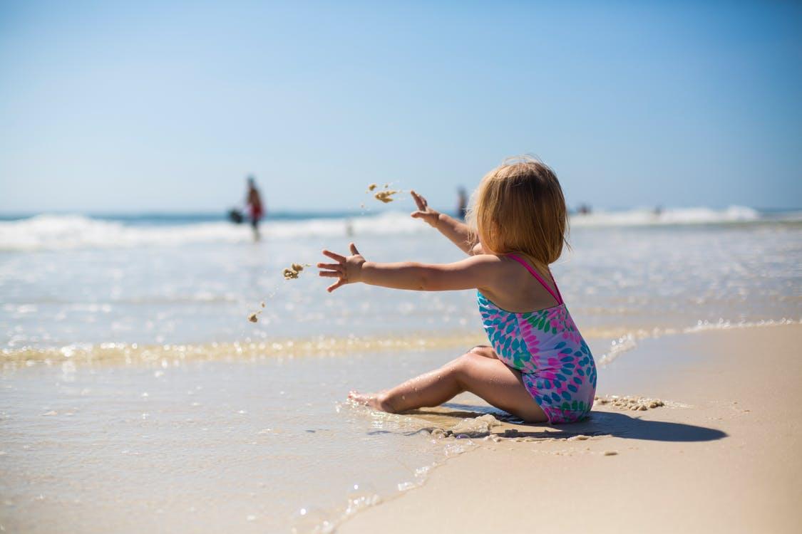 adorável, alegria, areia