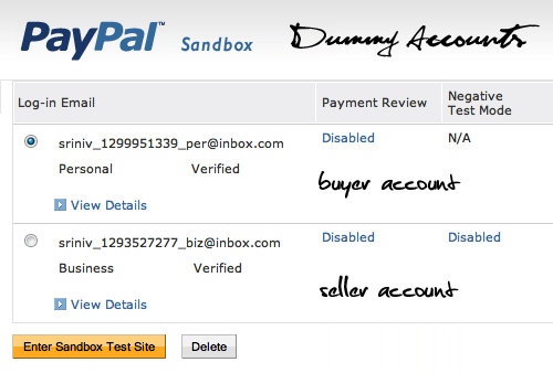 Paypal test accounts