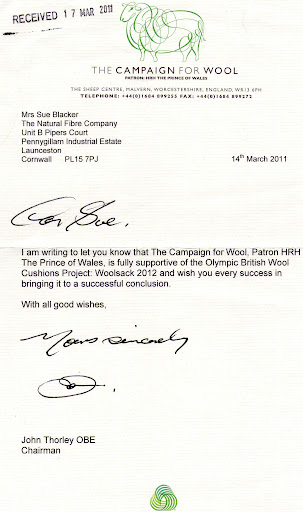 Letter from John Thorley OBE, Chairman, The Campaign for Wool supporting Woolsack