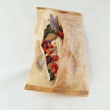 Foto de Papillote con un rectángulo de Papel Vegetal