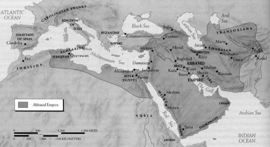 The Abbasid Caliphate (750 AD – 1258 AD) stretched from northern Africa past modern Saudi Arabia.