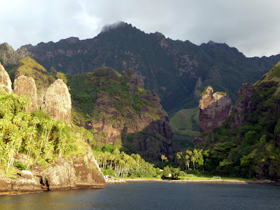 Island of Fatu Hiva, village of Hanavave, Bay of Virgins. As seen from departing Aranui 3 (Roderick Eime)