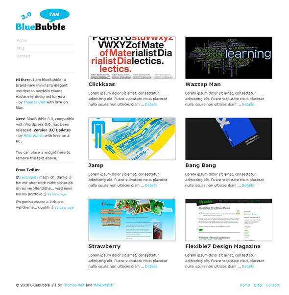 BlueBubble Minimalist Design WordPress Theme