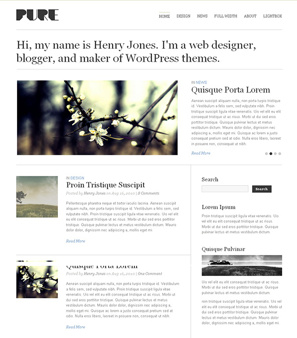 Pure Minimalist Design WordPress Theme