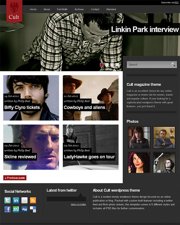 Cult WordPress Theme for Bands