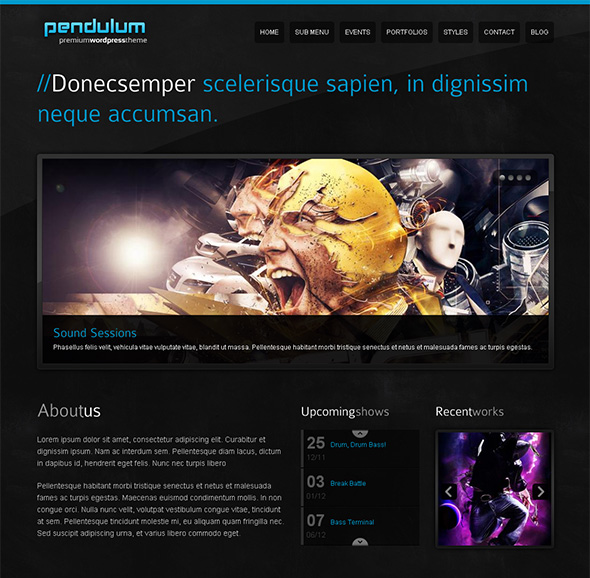 Pendulum WordPress Theme for Musicians
