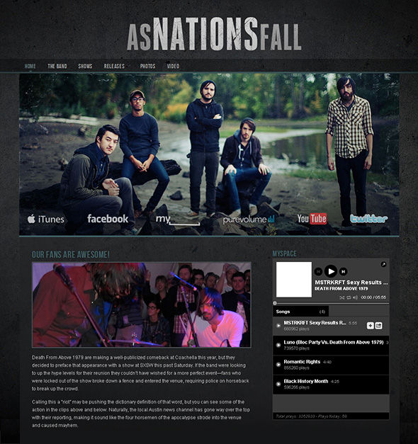 Dark and Gritty WordPress Theme for Bands