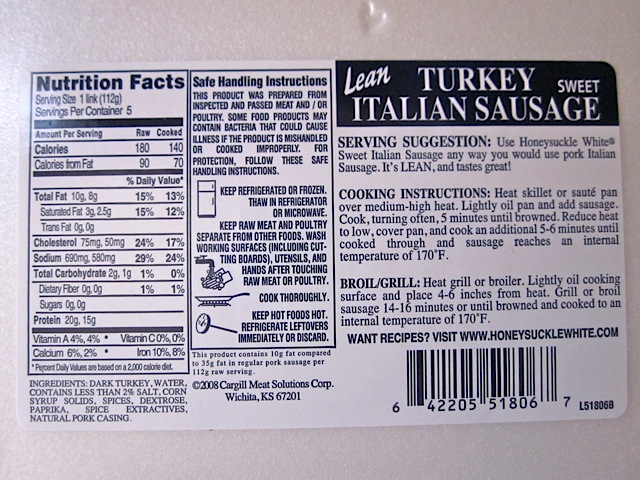 turkey sausage stats and ingredients (package)