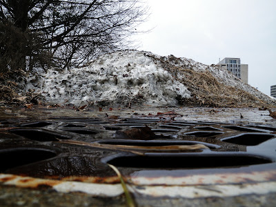 Snow pile melting weeks after Snowpocalypse 2011