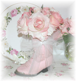 ~ Pink Cowboy Boots and Roses ~
