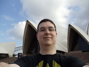 Self portrait in front of the Sydney Opera House.
