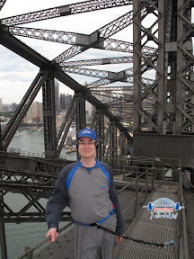 Travis on the Sydney Harbour bridge climb.