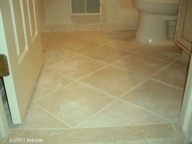 Ceramic Tile floor in diagonal pattern