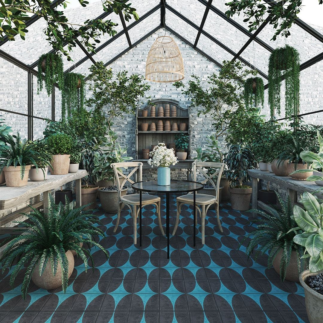 Blue and black tiles cor outdoor spaces