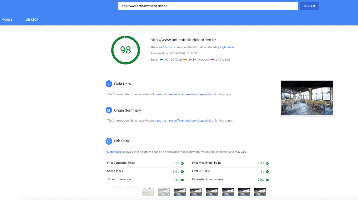 PageSpeed desktop report for anticatrattorialportico