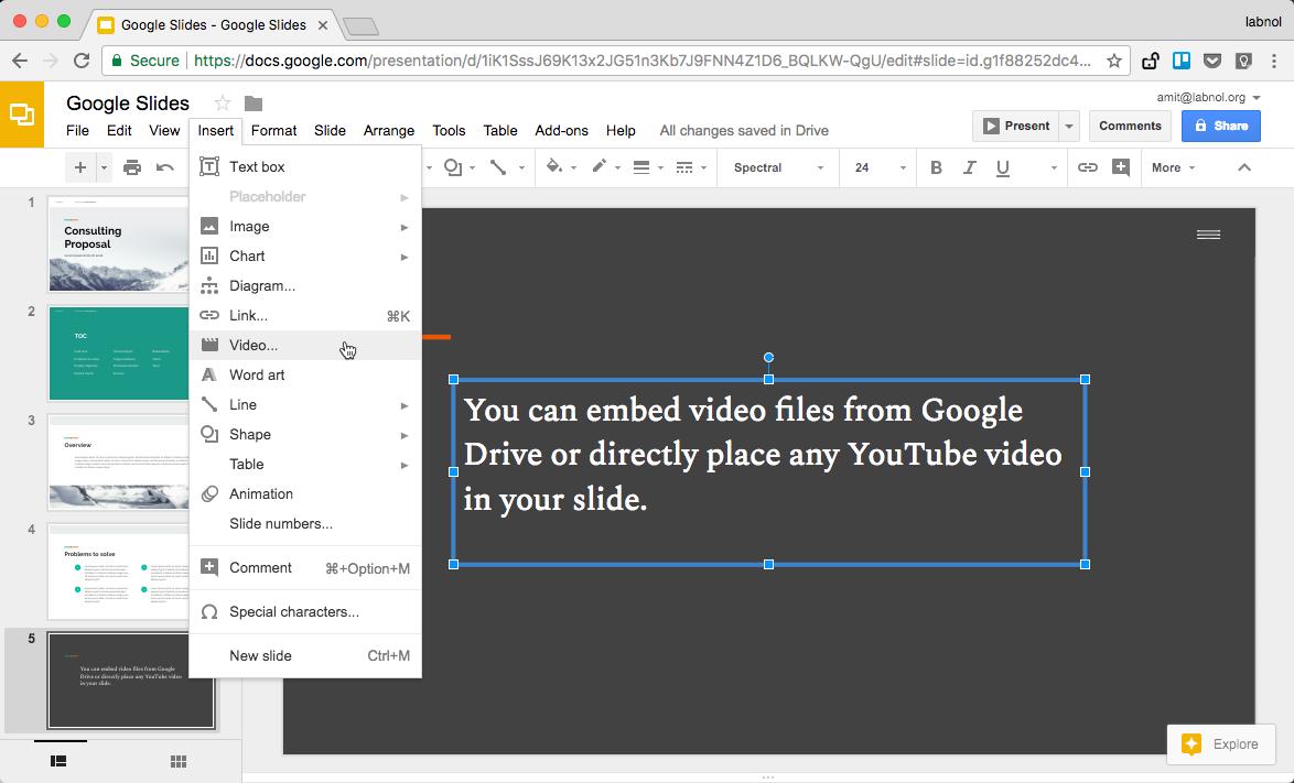Videoyu Google Slayda Göm