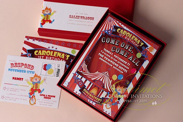 First Birthday Circus Theme Invitations Gourmet Invitations