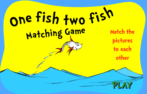 Seussville Dr. Seuss One Fish Two Fish Matching Game