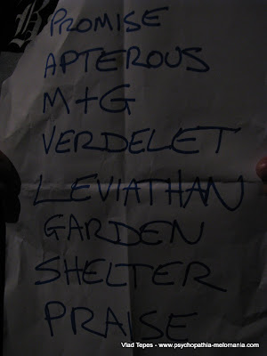 Akercocke : set-list @ Chaulnes 23/04/2011