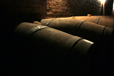 Barrels at a wine tasting in the Maipo Valley in Chile