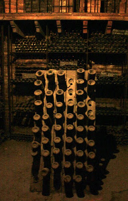 Wine bottles as seen on a Cousino Macul winery tour in the Maipo Valley in Chile