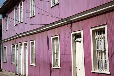 Purple house in Valparaiso Chile on a day of sightseeing