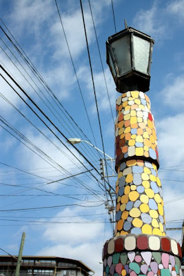 Mosaic lamp post in Valparaiso Chile at the open air museum