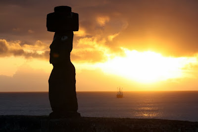 Moai at sunset on Easter Island in Chile