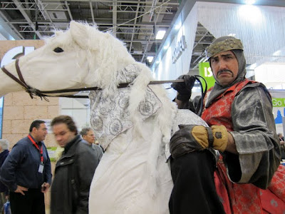 Man riding a horse at the ITB Berlin Travel Trade Show in Germany