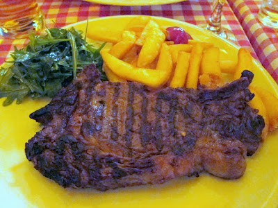 Steak for dinner at Chez Marcel restaurant in Prague