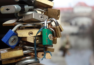 Locks on a bridge in Mala Strana in Prague Czech Republic